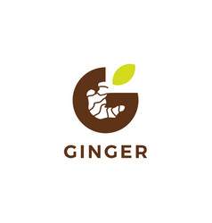 g letter ginger logo icon in negative space style vector image