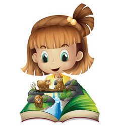 Girl reading book of grizzly bears in jungle vector