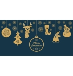 Gold christmas pendants a bell with holly ball vector