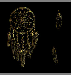 Golden luxary ornate dreamcatcher with feathers vector