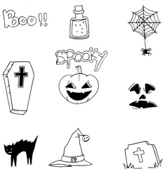Halloween Black white doodle art vector