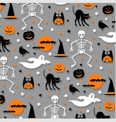 Halloween pattern orange gray vector