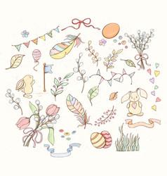 hand drawn spring elements set vector image