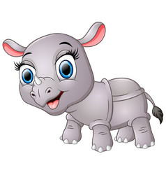 happy cartoon rhino vector image