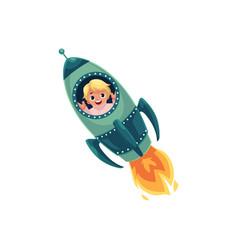 happy little boy flying in rocket spaceship vector image