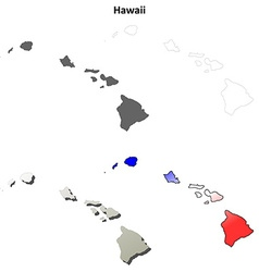 Hawaii outline map set vector