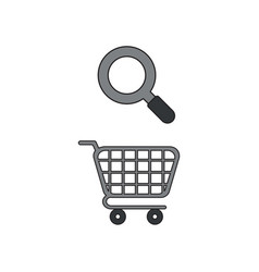 Icon concept shopping cart with magnifier vector