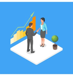 Isometric 3d of two business people making dea vector