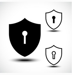 Keyhole shield icons on white background vector