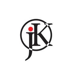 letter jk circle linked logo vector image