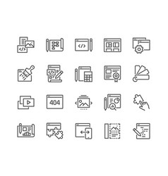 line web development icons vector image