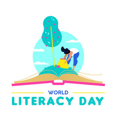 literacy day card for people education worldwide vector image