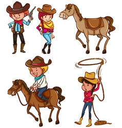 Male and female cowboys vector image