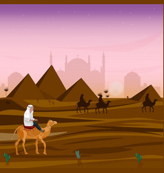 man on a camel at sunset in egypt desert vector image