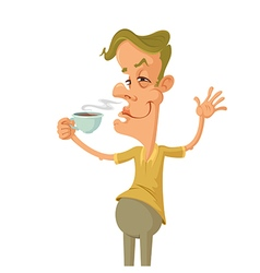 man with a cup vector image