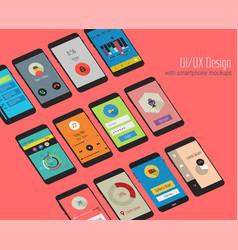 Material ui screens with 3d smartphon mockups kit vector
