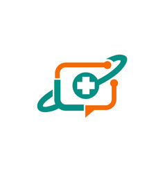Medic cross technology media logo vector