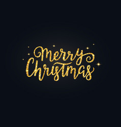 Merry christmas glitter gold hand drawn lettering vector