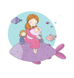 mom with a baby and daughter and a big magic fish vector image