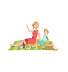 Mother And Child Having Picnic Together vector image