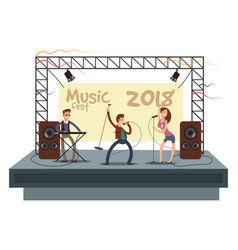 music festival concert with pop music band playing vector image