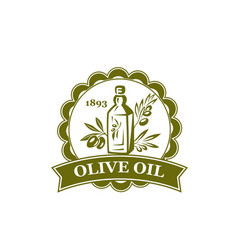 Olive branch with oil bottle round label design vector