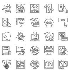 Online poker outline icons set - internet vector