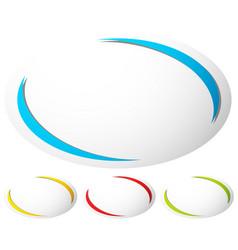 Oval ellipse badge button background set of 4 vector