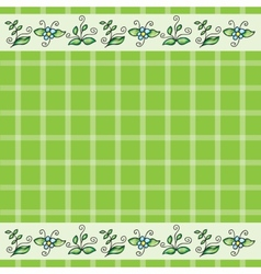 pattern with grass and flowers vector image