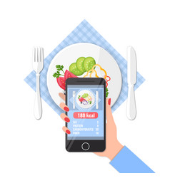 Phone with app counting calories in photos on a vector