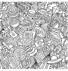 Picnic hand drawn doodles seamless pattern bbq vector