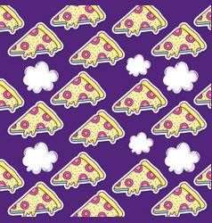 pizza pop art background vector image