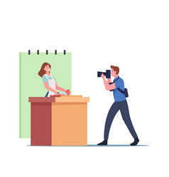 Professional videographer male character recording vector