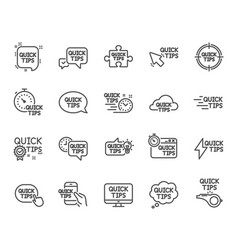 Quick tips line icons set of helpful tricks vector