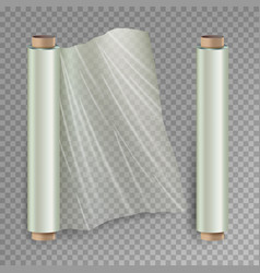 Roll of wrapping stretch film opened and vector