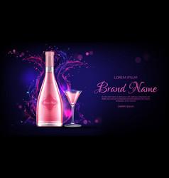 rose wine bottle and glass mockup promo banner vector image