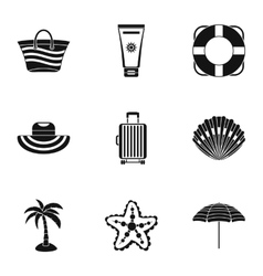 Sandy beach icons set simple style vector