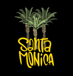 Santa monica california design with palm tree vector