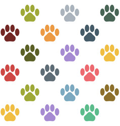 Seamless multicolored cat paws pattern vector