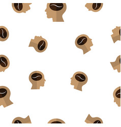 seamless pattern with coffee bean on human head vector image