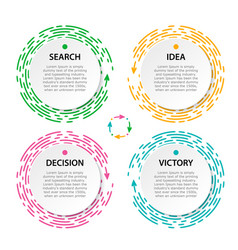 set circle infographic bright pink green blue vector image