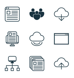 set of 9 online connection icons includes virtual vector image