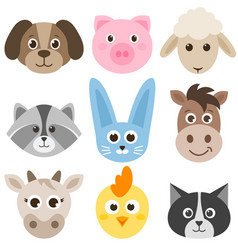Set of cute cartoon colorful farm animals vector