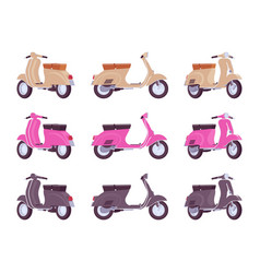 set of scooters in beige pink black colors vector image
