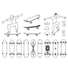 Set of Skateboards Equipment and Elements of vector