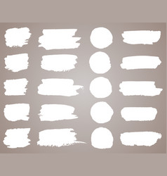 set of white ink stains black paint vector image
