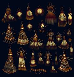 Set tassels in golden color for design vector