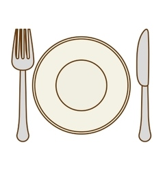 silver fork knife and plate icon image vector image