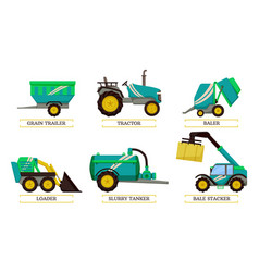 Slurry tanker and loader set vector