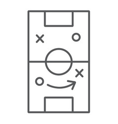 Soccer strategy thin line icon game and field vector